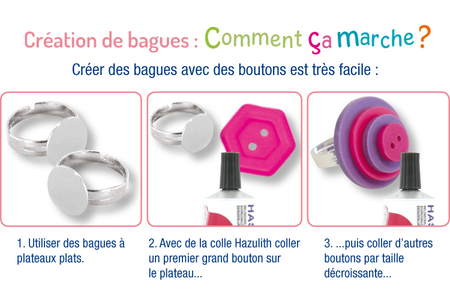 Bagues colorées avec des boutons - Tutos Fête des Mères – 10doigts.fr