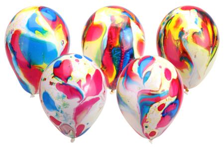 Ballons ronds, couleurs marbrées - Set de 100 - Ballons, guirlandes, serpentins – 10doigts.fr
