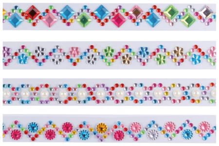 Strass sur bandes auto-adhésifs - 4 bandes de strass - Stickers strass, cabochons – 10doigts.fr