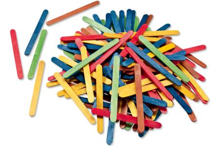 Bâtons d'esquimaux en bois coloré - Bâtonnets, tiges, languettes – 10doigts.fr