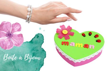 boite à bijoux cadeau fête des mères enfants coeur - Tête à Modeler