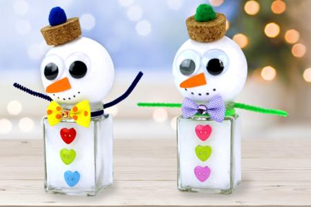 bonhomme de neige mignon pot en verre noël - Tête à Modeler