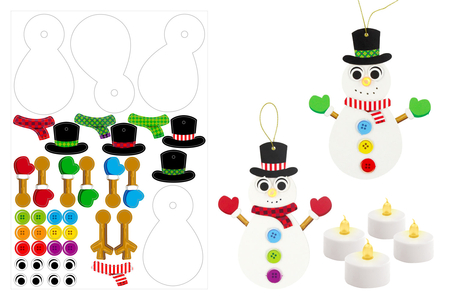 Suspensions bonhommes de neige lumineux - Lot de 4 - Kits activités Noël – 10doigts.fr
