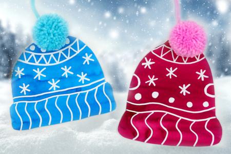 Bonnet et pompon en laine - Noël - 10doigts.fr