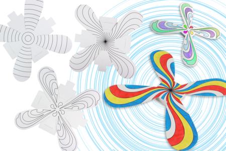 Boomerangs hélice à colorier - Set de 3 boomerangs - Support pré-dessiné – 10doigts.fr