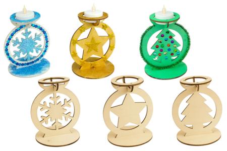 Bougeoirs en bois Noël - Set de 3 formes - Bougeoirs et Lumières – 10doigts.fr