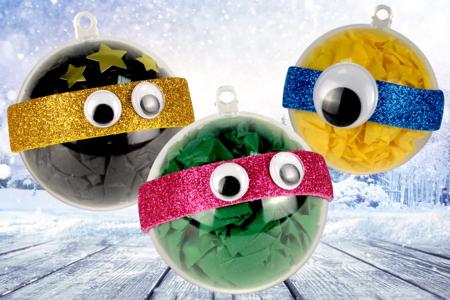 Boules de Noël - personnages rigolos - Activités enfantines – 10doigts.fr