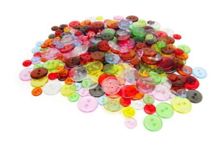 Boutons transparents multicolores - 300 pièces - Boutons – 10doigts.fr
