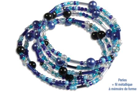 Bracelets en perles de rocaille, camaïeu de bleus - Bijoux – 10doigts.fr