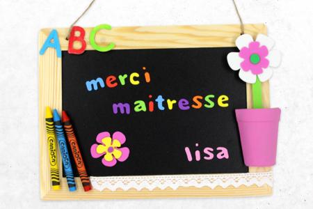 Ardoise « Merci maitresse » - Activités enfantines – 10doigts.fr