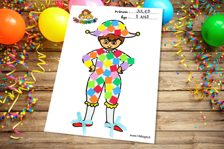 Arlequin à décorer - Carnaval, fêtes, masques – 10doigts.fr