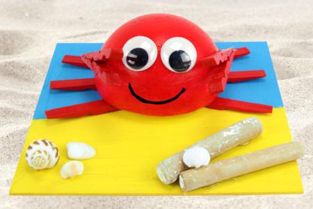 Crabe 3D avec des demi-pinces à linge - Animaux – 10doigts.fr