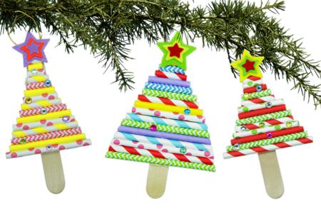 Sapin de Noël avec pailles en carton - Noël – 10doigts.fr