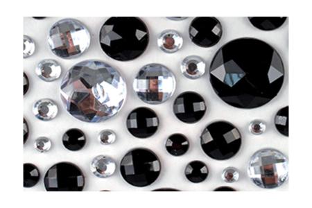 Strass adhésifs ronds noirs et transparents - 106 strass - Strass – 10doigts.fr