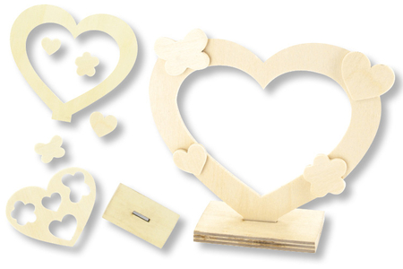 Cadre coeur + mini formes en bois - Cadres photos – 10doigts.fr