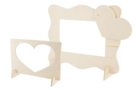 Cadres 2 en1 - Formes vague + coeur - Cadres photos en bois – 10doigts.fr