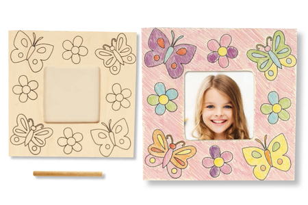 Cadre photo en bois à colorier - Cadres photos en bois – 10doigts.fr