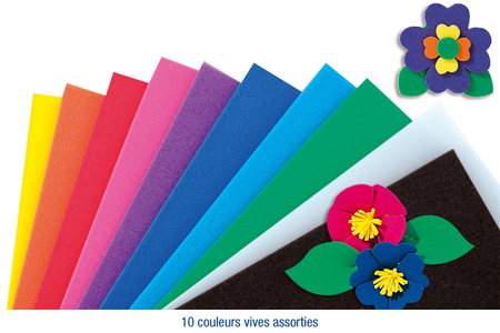 Feuilles de mousse 30 x 45 cm - 10 couleurs - Papiers Unis – 10doigts.fr