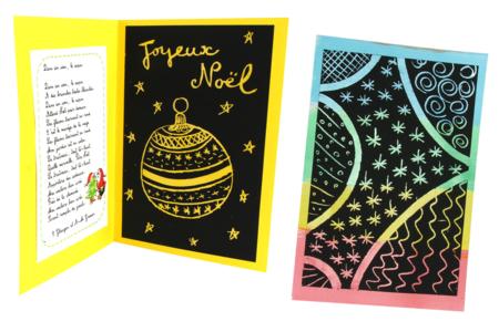 Set de 4 plaques en carte à gratter pour poignées de porte  + 4 grattoirs - Activités enfantines - 10doigts.fr