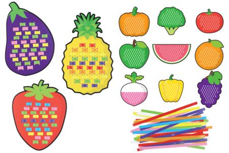 Cartes à tisser fruits et légumes - Set de 12 - Kits activités d'apprentissage – 10doigts.fr
