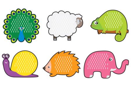 Cartes à tisser animaux terrestres- Set de 6 - Kits activités d'apprentissage – 10doigts.fr