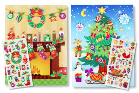 Cartes de Noël +  stickers - 2 cartes - Compliments, cartes... – 10doigts.fr
