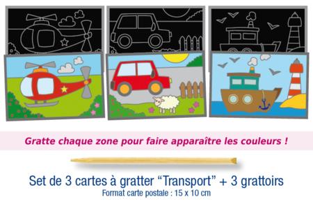 """Set de 3 cartes à gratter """"Transports"""" + 3 grattoirs - Cartes à gratter, cartes à sabler – 10doigts.fr"""