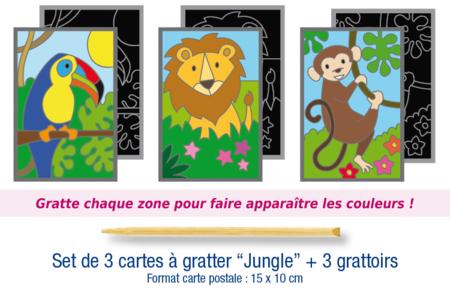 """Set de 3 cartes à gratter """"Jungle"""" + 3 grattoirs - Carterie – 10doigts.fr"""