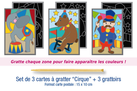 "Set de 3 cartes à gratter ""Cirque"" + 3 grattoirs - Cartes à gratter, cartes à sabler – 10doigts.fr"