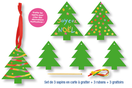 Set de 3 sapins de Noël en carte à gratter + 3 grattoirs + 3 rubans satin - Cartes à gratter, cartes à sabler – 10doigts.fr