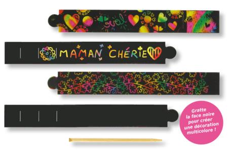 Set de 4 bracelets en carte à gratter + 4 grattoirs - Activités enfantines – 10doigts.fr