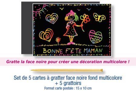 Set de 5 cartes à gratter face noire fond multicolore + 5 grattoirs - Arc-en-ciel – 10doigts.fr