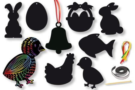 Cartes à gratter thème Pâques + accessoires - 8 formes - Cartes à gratter – 10doigts.fr