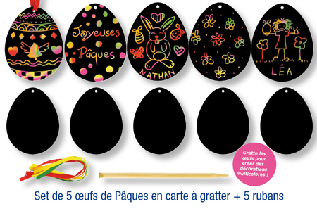 Oeufs de Pâques à gratter - Arc-en-ciel – 10doigts.fr