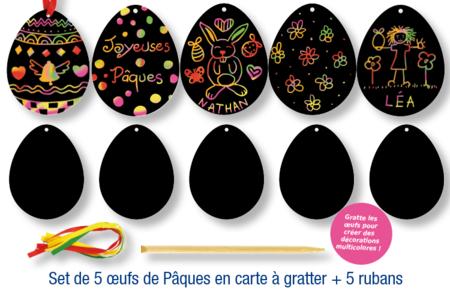 Cartes à gratter Oeufs de Pâques - Lot de 5 - Cartes à gratter – 10doigts.fr