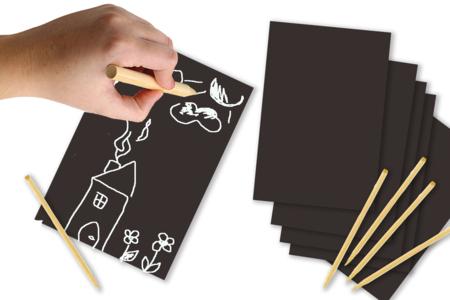 Cartes à gratter Noir & blanc - 5 cartes - Cartes à gratter – 10doigts.fr