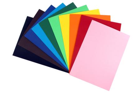 Feuilles colorées 220 gr/m² - 10 couleurs assorties - Papiers Unis – 10doigts.fr