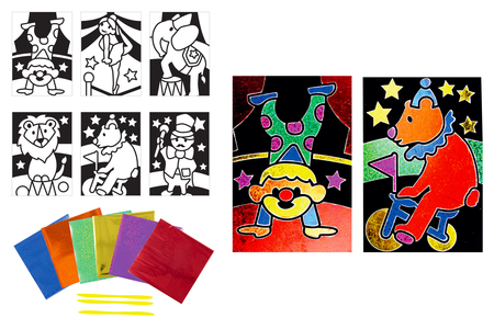 Cartes à métalliser Cirque - 6 cartes assorties - Kits créatifs en Papier – 10doigts.fr