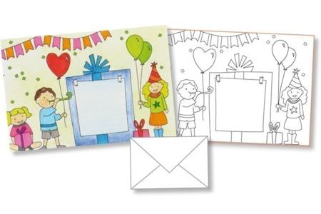 Cartes d'invitation anniversaire à colorier + enveloppes - 4 pièces - Support pré-dessiné – 10doigts.fr