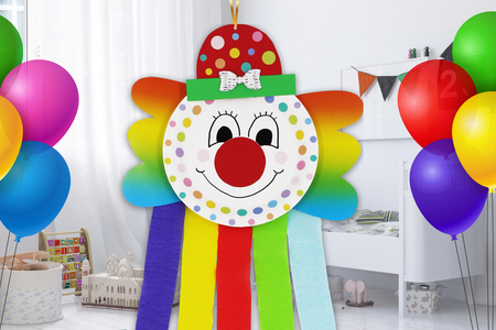 Clown arc-en-ciel - Carnaval, fêtes, masques – 10doigts.fr