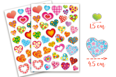 Gommettes coeurs fantaisie - 2 planches - Stickers, gommettes coeurs – 10doigts.fr