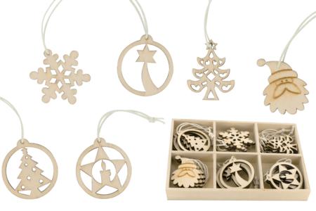 Coffret de motifs de Noël en bois naturel - Set de 18 - Suspension Fantaisie – 10doigts.fr