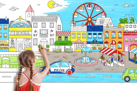 Fresque géante à colorier - La ville - Supports pré-dessinés – 10doigts.fr