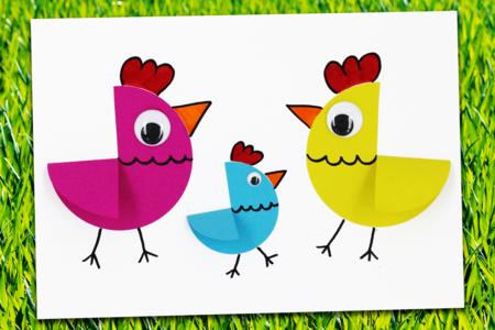 Poules de Pâques en papier (bricolage facile) - Pâques – 10doigts.fr