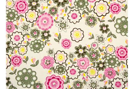 Coupon de tissu en coton imprimé fleuris rose, vert - 55 x 45,5 cm - Coupons de tissus – 10doigts.fr