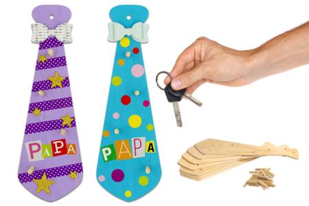 Cravate porte-clés - Lot de 12 - Porte-clefs en bois – 10doigts.fr