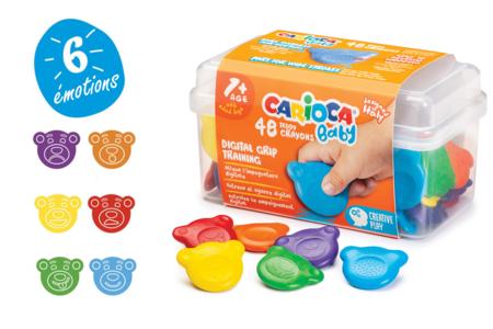 Craies de cire Carioca Baby - Set de 48 - Crayons cire – 10doigts.fr