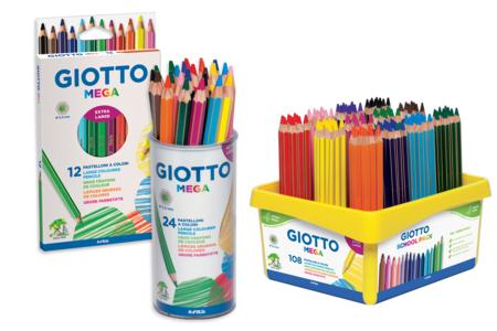 Crayons de couleur GIOTTO Méga - Taille maxi - Crayons de couleurs – 10doigts.fr
