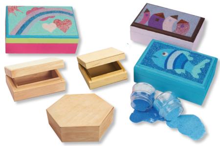 Déorer une boîte en bois avec une carte sable - Boîtes, coffrets, plateaux - 10doigts.fr