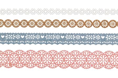 """Dentelle adhésive en papier - 4 rouleaux """"Champêtre"""" - Adhésifs colorés et Masking tape – 10doigts.fr"""
